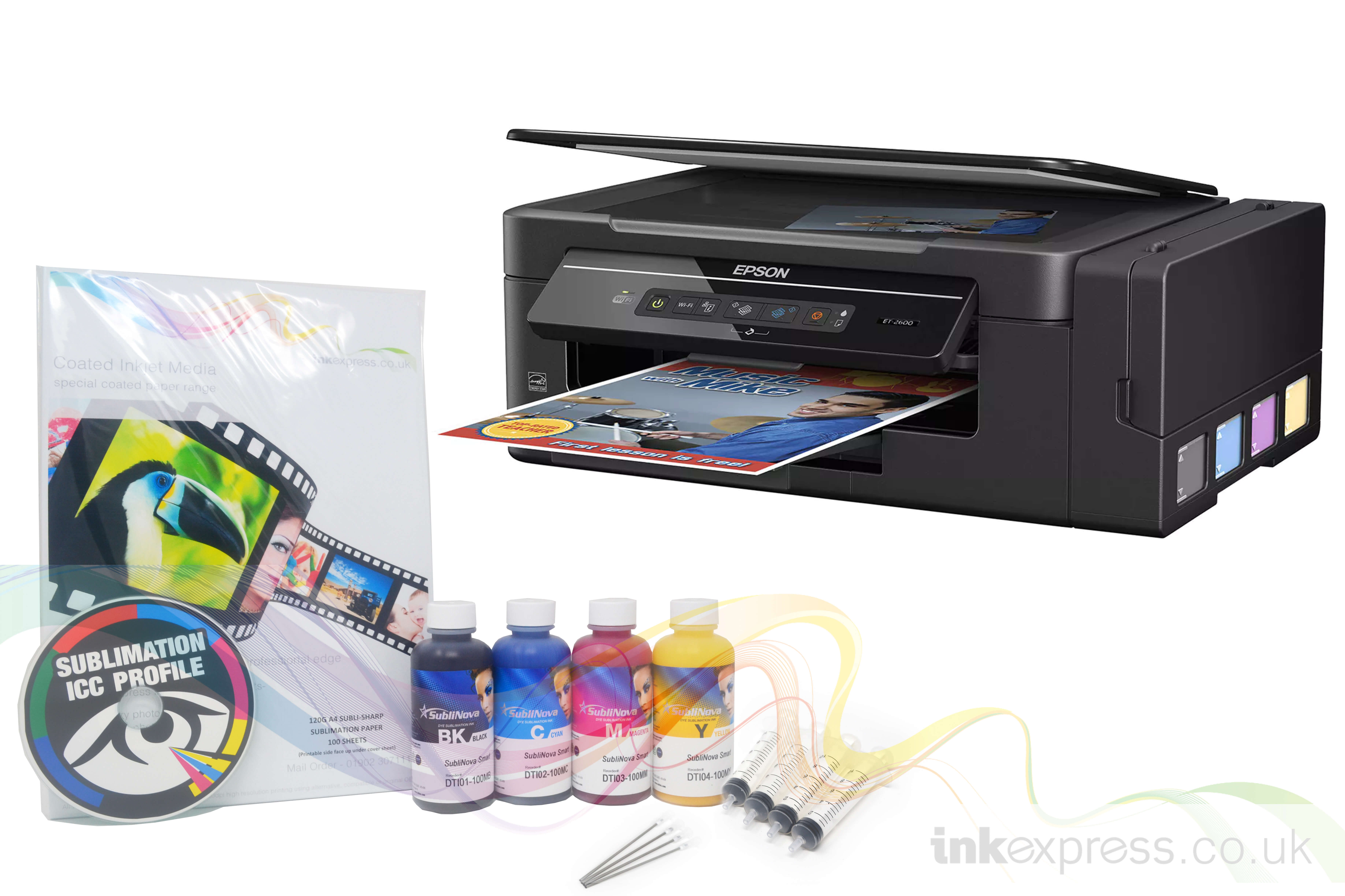 Sublimation Starter Package: EPSON ET-2600 - Printer + 4 x 100ml Ink & Paper